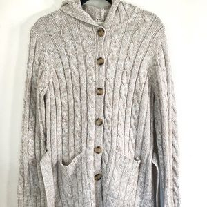 Carolyn Taylor chunky knit hooded button cardigan
